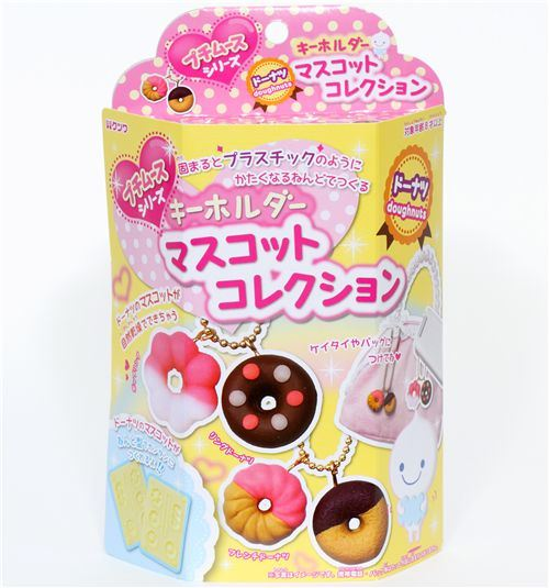 cute DIY clay charms making kit donuts Japan