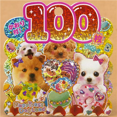 kawaii 100 pcs dog sticker sack kawaii