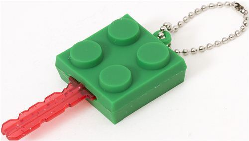 funny green building block key cover charm