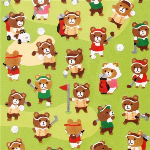 cute golfing bears stickers from Japan sport