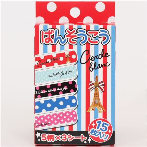 cute polka dots Bandage Band-Aid 15 pcs with Eiffel tower