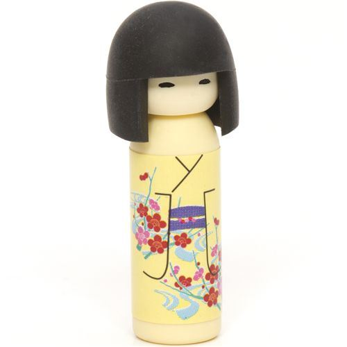 yellow Japanese Kokeshi dolls eraser flowers from Japan