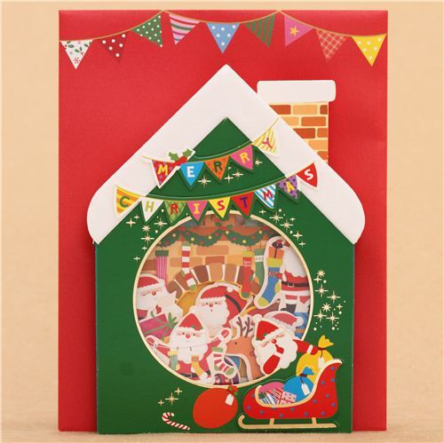 cute winter house fireplace socks Christmas letter 3D pop-up card from Japan
