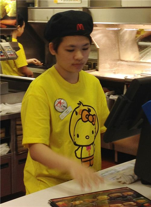 Every staff member has to wear special Hello Kitty shirts, there is one for every character
