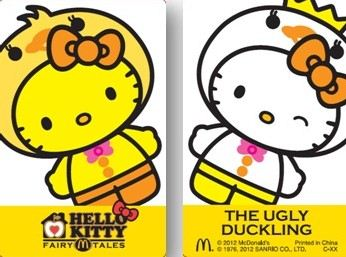 Hello Kitty as ugly duckling and pretty swan