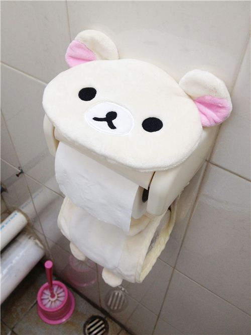 Super cute Korilakkuma toilet paper holder at the modes4u office