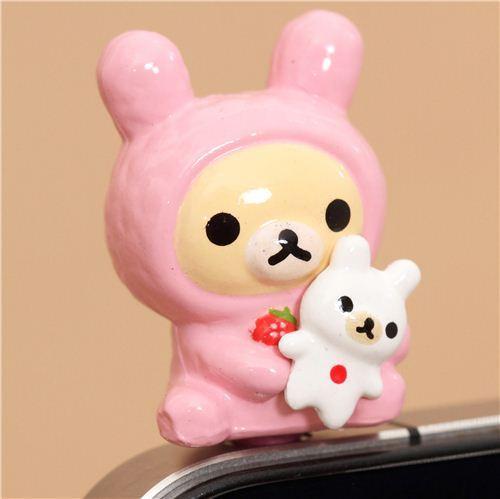 Rilakkuma white bear bunny mobile phone plug earphone jack