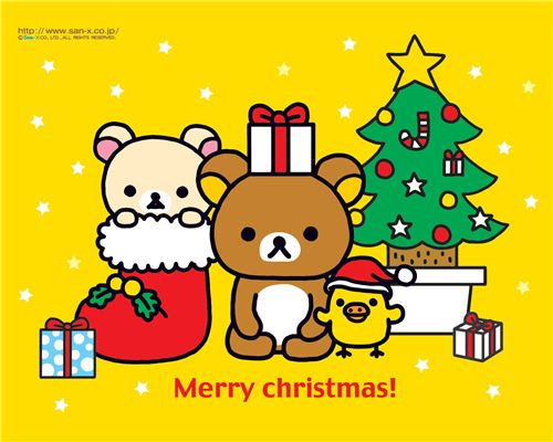 kawaii Rilakkuma Christmas wallpaper