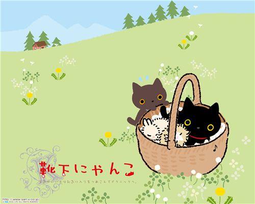 Kutusita Nyanko picnic basket wallpaper