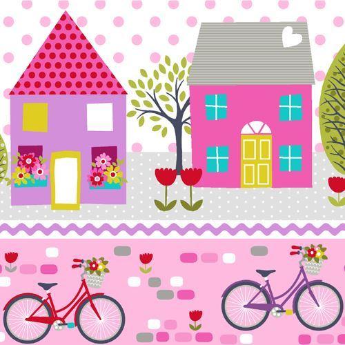 stripe pink purple bicycle house tree fabric by StudioE 'Around Town'