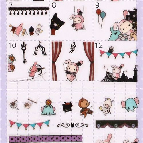 Sentimental Circus rabbit curtain calendar stickers