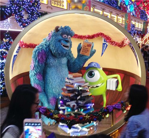 Mike and Sulley from Monsters Inc. have a special version of a Christmas tree
