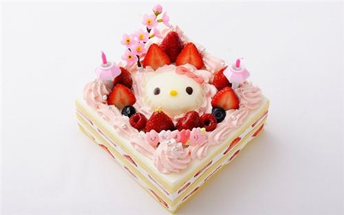 Adorable Hello Kitty cherry blossom strawberry cake.