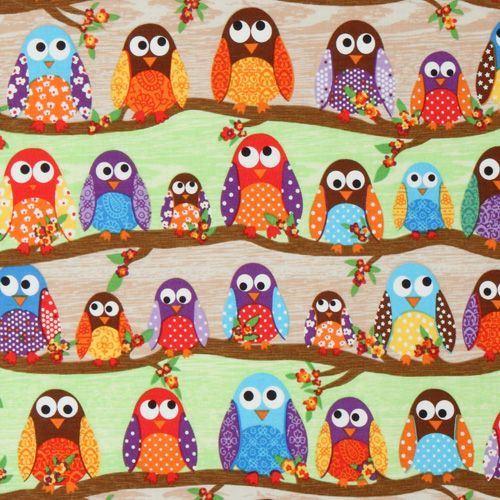 cute colourful owls fabric What a Hoot USA designer