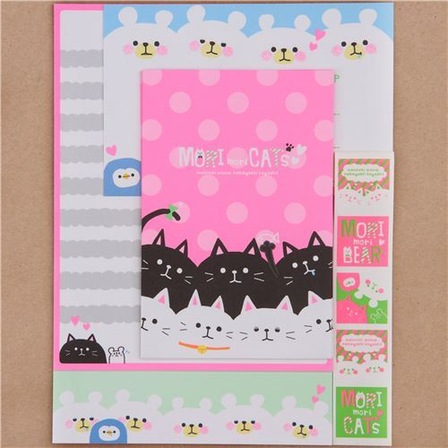 cute cat bear dot neon Letter Set by Q-Lia from Japan