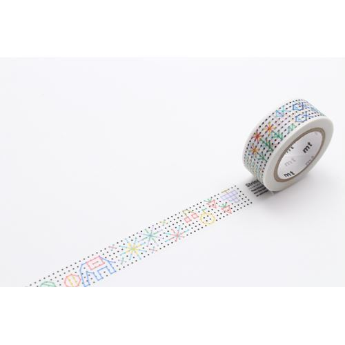 mt for kids Washi Masking Tape deco tape white with dot flower fish