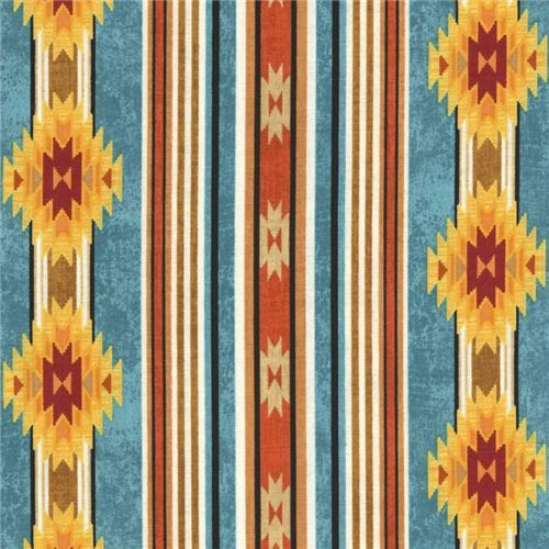 teal orange black stripe triangle shape design fabric Timeless Treasures