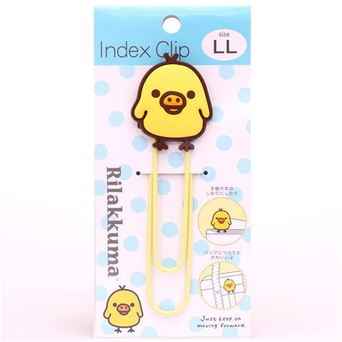 cute big Rilakkuma yellow chick paper clip bookmark