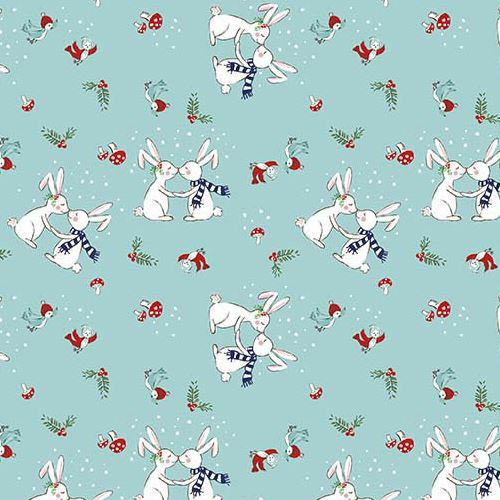 blue Riley Blake fabric Christmas rabbit bird mushroom Pixie Noel