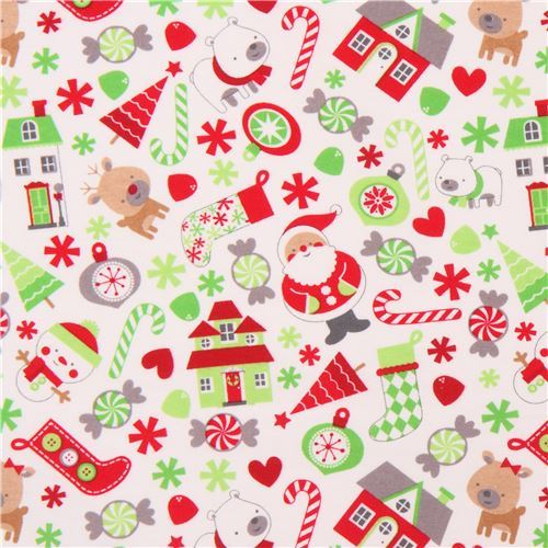 white cute Christmas tree animal knit fabric Riley Blake Home for the Holidays