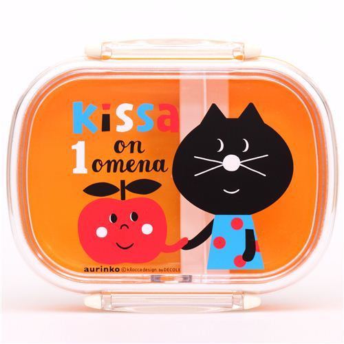 yellow Decole cat with apple Bento Box Lunch Box