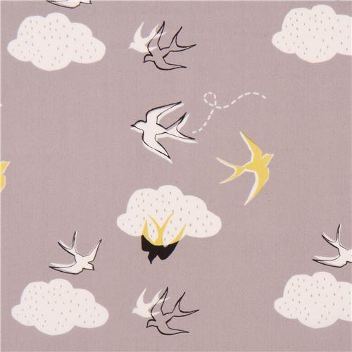 taupe with white cloud bird animal organic fabric monaluna USA