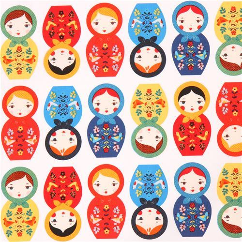 white fabric with matryoshkas blue red orange Robert Kaufman