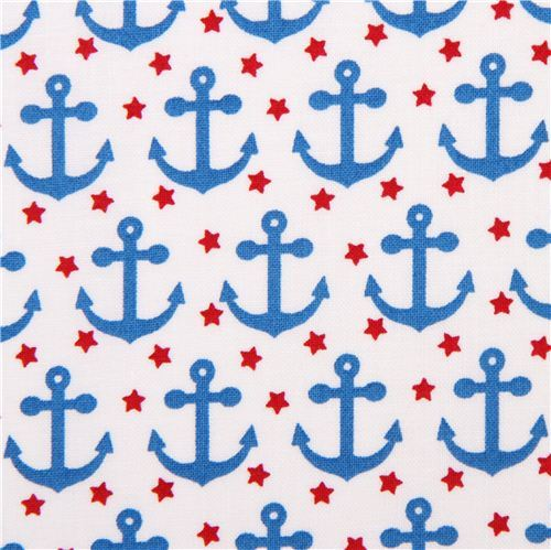 white maritime anchor fabric Robert Kaufman 'Fabulous Foxes'