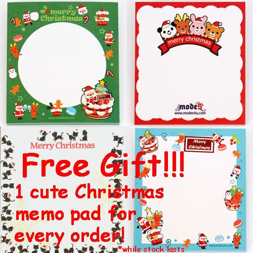 FREE cute Christmas memo pad for every order!