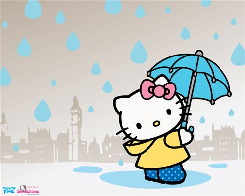 We spotted this Rainy Day Hello Kitty wallpaper on hellokittywallpapers.net