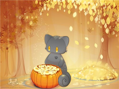 Golden fall leaves can be found in this BeKyoot wallpaper