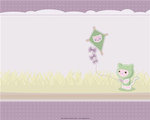 Kiteflying on a windy autumn day on this Meomi wallpaper