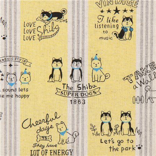 dog canvas fabric yellow Kokka with stripe