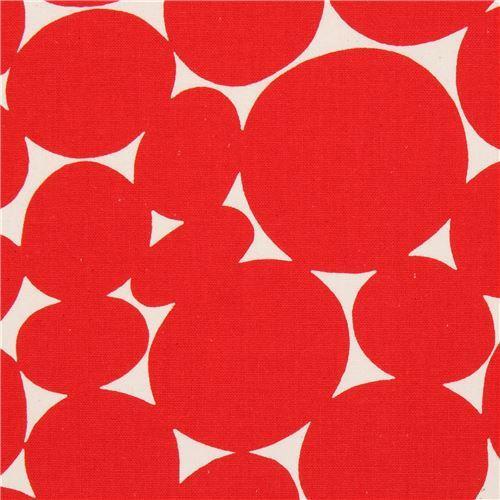 red circle canvas fabric natural color by Kokka