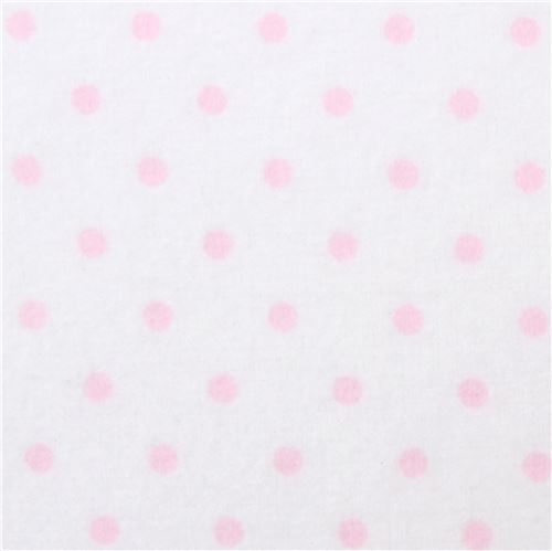 small pink dot Robert Kaufman white flannel fabric Cozy Cotton
