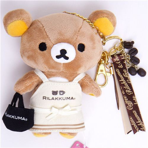 Rilakkuma bear plush charm with apron coffee