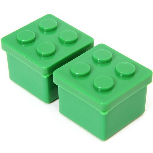 2 green building block sauce containers for Bento Box
