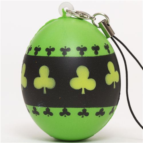 green egg with cloverleaf squishy cellphone charm