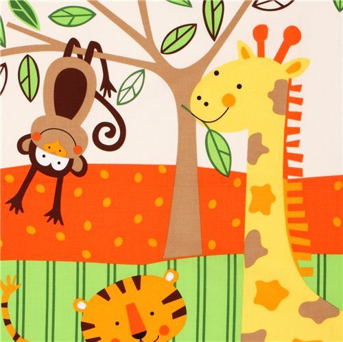 kids growth chart jungle animal fabric Timeless Treasures