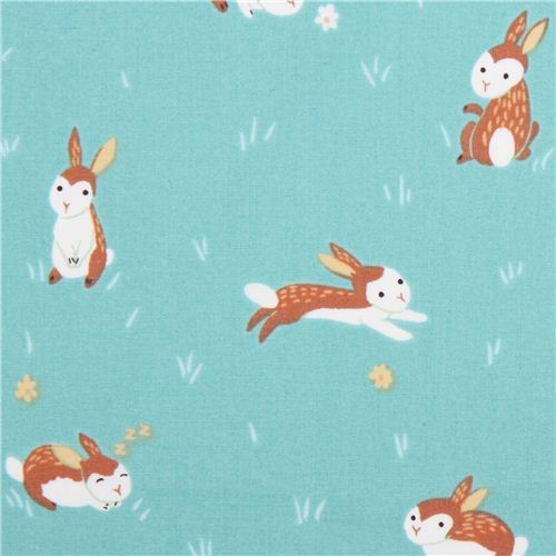 aqua rabbit animal Clothworks organic fabric Critter Patch
