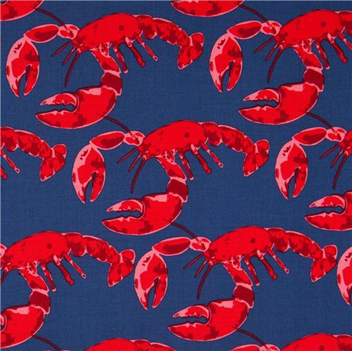 navy blue maritime fabric with lobsters by Michael Miller