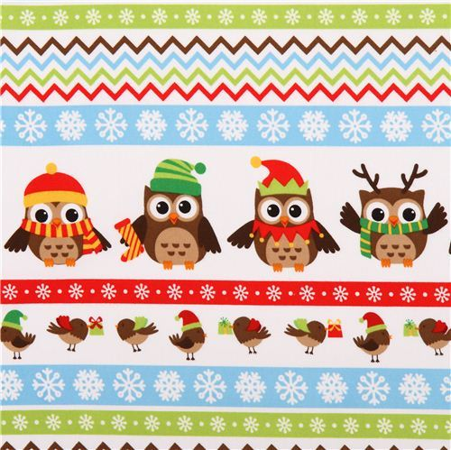 Christmas owl stripe flannel fabric Holiday Hoot