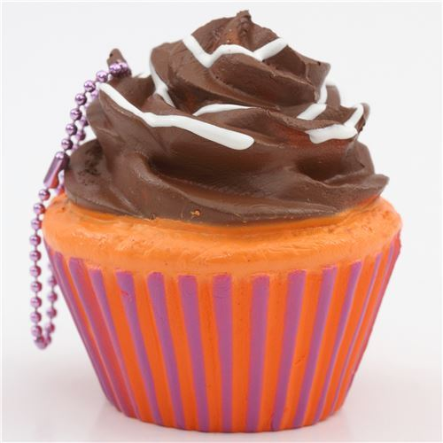 brown icing orange purple base cupcake squishy charm cellphone charm kawaii
