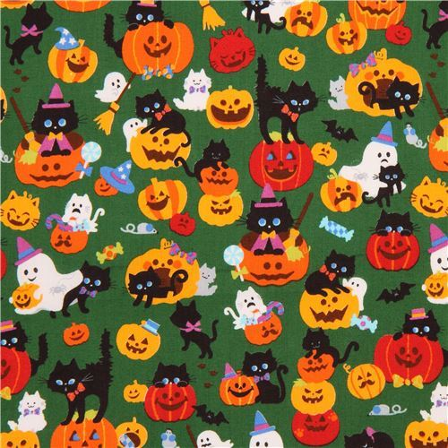 cute dark green fabric with cat ghost pumpkin Halloween from Japan