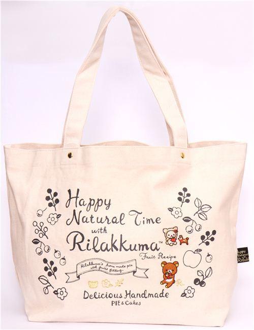 big natural-colored deer Rilakkuma canvas linen handbag