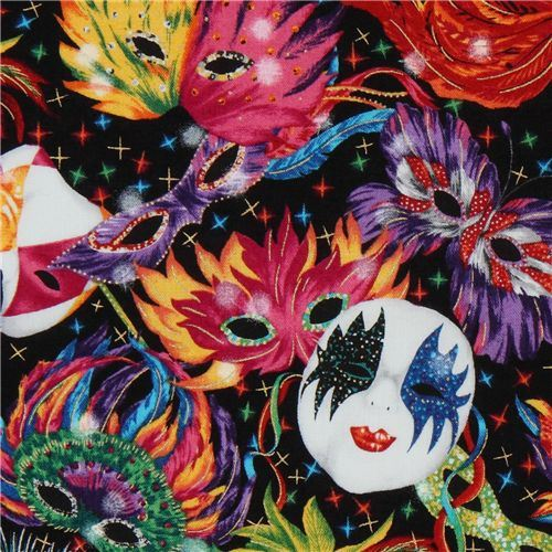 colourful carnival mask fabric Robert Kaufman designer