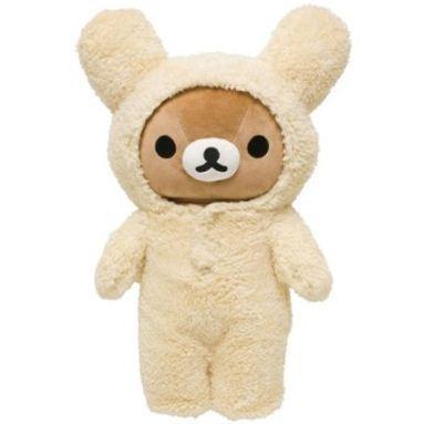 huge Rilakkuma plush toy brown bear in bunny suit