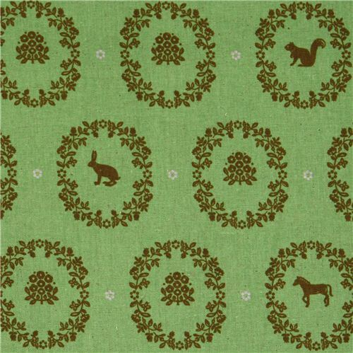 echino canvas Kokka fabric ornaments animals green