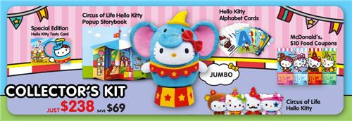 You can also get a special collectors kit with a cute Jumbo Hello Kitty as elephant plush toy
