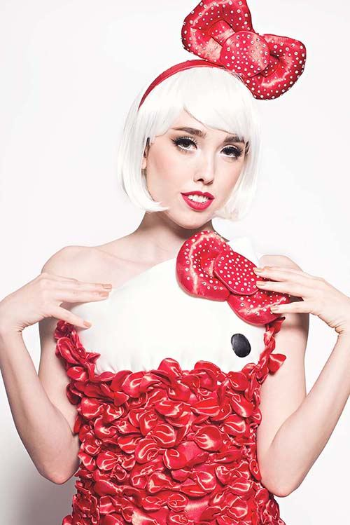 An amazing Hello Kitty dress made with hundreds of red ribbons.